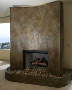 stucco fireplace w/ Venetian plaster Stucco Fireplace, Fireplace Wall, Fireplace Design, Faux Walls, Plaster Walls, Textured Walls, Polished Plaster, Bathroom Wall Shelves, Tadelakt
