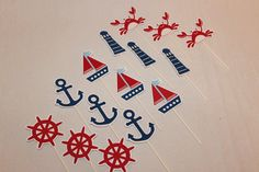 Nautical Cupcake Toppers by TamaraMarieOriginals on Etsy, $20.00