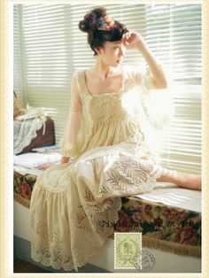 cream lacy Mori Girl dress