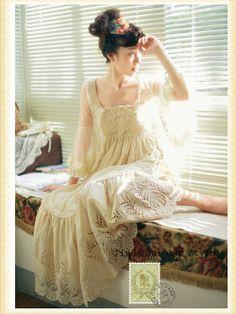 cream lacy Mori Girl dress