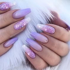 REPOST - - - - Lilac Ombre and Glitter on Coffin Nails - - - - Picture and Nail Design by @margaritasnailz Follow her for more gorgeous nail art designs! @margaritasnailz @margaritasnailz - - - -