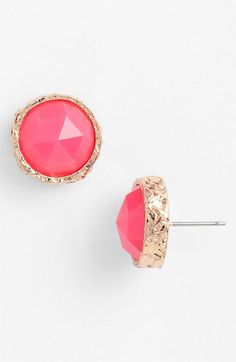 pink & gold stud earrings
