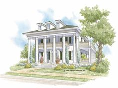 Eplans House Plan: Stately columns adorn the entrance to this NeoClassical design.  Inside, decorative arches define entryways throughout.  The expansive great room, complete with a fireplace and access to the rear verandah,