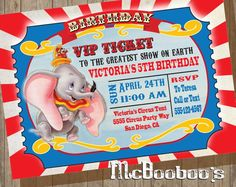 Dumbo Birthday Party VIP Circus Ticket Invitation by McBooboos on Etsy Dumbo Birthday Party, Carnival Birthday Parties, Circus Birthday, 21st Birthday, Birthday Nails, Birthday Ideas, Circus Invitations, Birthday Party Invitations, Ticket Invitation