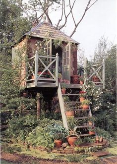 A garden treehouse. I just love this...might have to build this in my backyard for Logan and me to play in!
