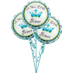 """A 3-pack of 18"""" diameter Little Prince design foil balloons.  Features the bright blues of the Little Prince Baby Shower decorating theme.  Double-sided"""