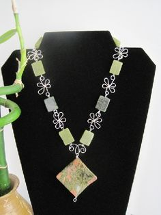 Jade Necklace with Moss Agate Focal Stone Wave Cut. Silver plate wire design, Sterling Silver Toggle Closure