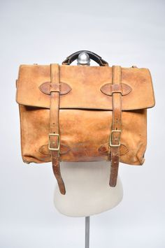 vintage leather briefcase attache case bag 1970s by goodbyeheart