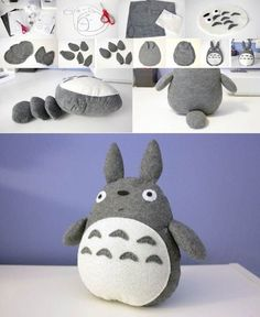 Totoro plush - do it yourself. Or maybe I will - Diy Selber Machen - - Totoro plush - do it yourself. Or maybe I will - Diy Selber Machen Cute Crafts, Felt Crafts, Fabric Crafts, Sewing Crafts, Diy And Crafts, Sewing Projects, Craft Projects, Arts And Crafts, Sock Crafts