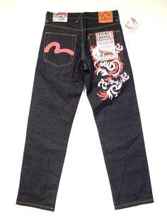BNWT NEW Men's EVISU GENES size W32 L34 Blue Straight Leg Jeans in Clothes, Shoes & Accessories, Men's Clothing, Jeans | eBay