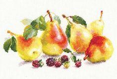 Оригинален гоблен от марката Алиса - Круши. Размер 26 х 15 см. Кръстат бод.14 каунта бяла панама аида 100% памук, конци Gamma 100% памук - 33цвята. Комплектът съдържа всички необходими материали за изработката на гоблена, игла и цветен чертеж. Cross Stitch Fruit, Cross Stitch Kits, Embroidery Kits, Red Apple, Modern, Zoom Zoom, Ph, Tapestry, Inspire