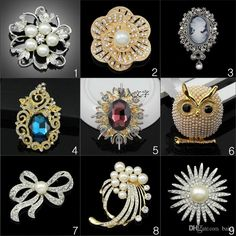 Luxus Mode Vintage Brosche Kristall Strass Eule Brosche Blume Braut Perle Brosche Pins Saphir Brautkleid Brosche Für