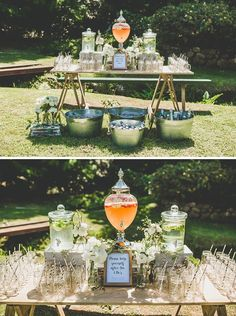 Rustic outdoor ceremony drinks station for a backyard engagement party wedding decorations outdoor Fresh Wedding Ideas from Volume 11 Backyard Engagement Parties, Engagement Party Decorations, Outdoor Wedding Decorations, Party Outdoor, Rustic Party Decorations, Outdoor Events, Outdoor Cocktail Party, Centerpiece Ideas, Ceremony Decorations