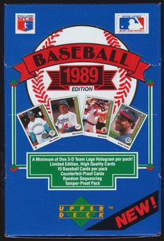 1989 Upper Deck Baseball Cards Unopened Low Series Foil Pack Box: Unopened, but not sealed, 36 wax packs, 15 cards per pack, search for the coveted Ken Griffey Jr. rookie card, the elusive Dale Murphy and Pat Sheridan errors, possible RCs for Randy Johnson (HOF), Craig Biggio (HOF), Gary Sheffield, and John Smoltz (HOF) inside. $99