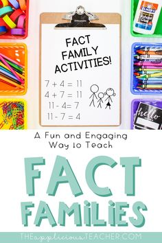 My favorite way to teach related facts to students. Love this idea of fact families! TheAppliciousTeacher.com Teaching Decimals, Teaching Math, Number Activities, Kids Learning Activities, Math Workshop, Workshop Ideas, Classroom Resources, Math Resources, Math Fact Fluency