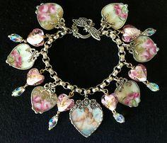Limoges Broken China Heart Charm Bracelet Cherubs and Roses