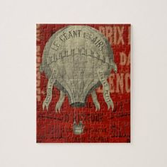 Steampunk Hot Air Ballon Ride Graphic Fonts in Red Jigsaw Puzzle - antique gifts stylish cool diy custom