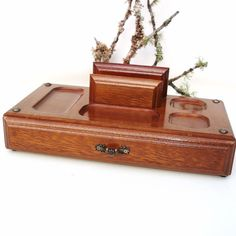 Vintage Mens Valet Wooden Dresser Tray Wood Box With Drawer Valet Jewelry Caddy…