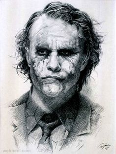 Charcoal Drawing Realistic The Joker- Heath Ledger. Really great drawing of him. This is really a dedication to what a great artist he is - Charcoal Drawing : From time immemorial charcoal has been used to create dramatic Joker Drawings, Realistic Drawings, Easy Drawings, Pencil Drawings, Joker Sketch, Der Joker, Heath Ledger Joker, Joker Art, Joker Batman