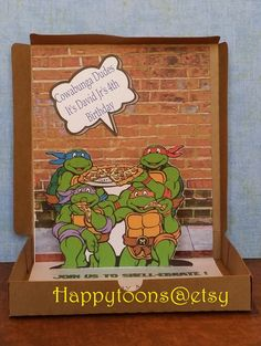Completely assembled!! An invitation sets the tone and theme for your party, give your guests a unique look into the party you are creating with a custom creation. These unique , and cute ninja turtles invitations are cut and crafted completely by hand. The pictures are merely examples