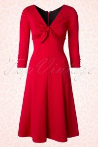 Bettie Page Clothing La Dolce Vita Red Bow Dress 102 20 17232 20151120 0003WA