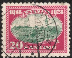 "Scan_Latvia 1928 Scott 160 20s cerise & blue green ""View of Cesis (Wenden)"" On the 10th anniversary of Latvian independence, a six stamp set with views of Latvian cities was produced."