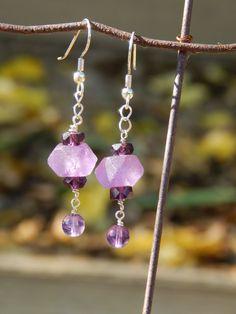 Purple sea glass earrings - beaded dangle earrings, lavender earrings