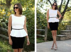 Peplum, How to wear a peplum, Jessica Quirk, What I Wore, Personal Style Blog, Fashion Blog, Black and White Outfit, Bloomington, Midwest, Simplicity 2444