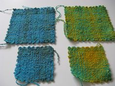 Hazel Loom and Weave-it squares Top ones are Rigby weave (first two layers use doubled thread, last two layers use single thread)