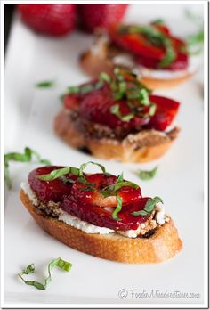 Strawberry Ricotta Bruscetta: Crispy French baguette slices covered in creamy ricotta cheese and topped with sweet summer strawberries – add...