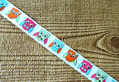 Owl Ribbon colorful birds on a white grosgrain 7/8 by HookedOnMOeZ, $1.25