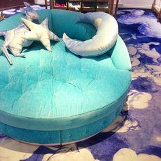 This is fantastic! Round lounge chair and fun pillows