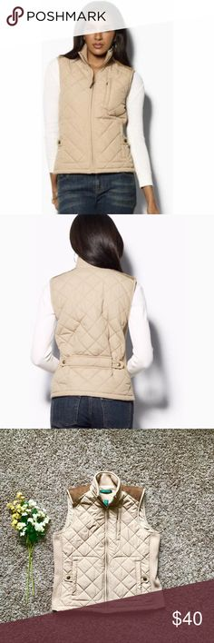 Lauren Ralph Lauren suede patched quilted vest This vest is awesome! Your classics quilted vest in a great tan color with some added style due to the suede shoulder patches and the adjustable feature located on the lower back of the vest. Easily worn for any occasion, very comfortable, and very stylish! Never worn before, this piece is a must have ladies! Lauren Ralph Lauren Jackets & Coats Vests