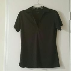Black short sleeve top Black short sleeve top ....bowling type ....could be used for waitressing port authority  Tops