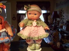 """Berenguer 5"""" Baby Dolls - Green/pink dress #19 More can be seen on Pinterest under Jana Langley Berenguer 5"""" Dolls with crocheted outfits"""