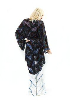 CARELESS KIMONO - NAVY BEADED BURN OUT VELVET   Made for Pearl   Janis Joplin