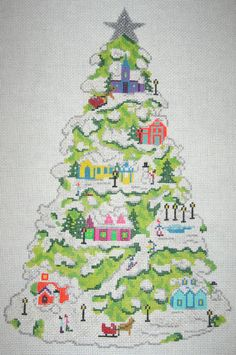 Ruth Schmuff - Village Tree Lime needlepoint canvas
