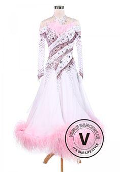 Sakura Pink Feather Luxury Ballroom Competition Dancing Dress