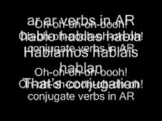 A video created by myself and my Spanish group An excellent way to work out how to conjugate your AR verbs. High School Spanish, Spanish Teacher, Spanish Classroom, Bad Romance Lady Gaga, Verb Conjugation, Spanish Teaching Resources, Listen To Song, Glee Club, Ways Of Learning