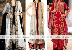 Latest Designs of Stylish Double Open Shirt Long Tail Gown Frock with Palazzo Suit. Fashion of Long Tail Net Frock Dress in Multicolor.