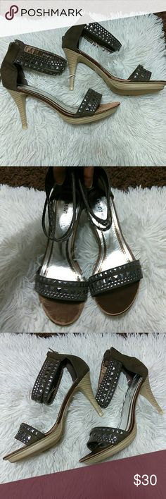 """⛔*New* Brown Chocolate Silver Studded Ankle Heels New in box- box top not included- silver flat studded design- zip up on back-3.5"""" heel boutique Shoes Heels"""
