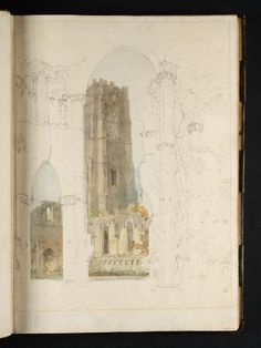 Joseph Mallord William Turner - Fountains Abbey: Huby's Tower from the Chapel of the Nine Altars, 1797