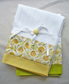 Kitchen towel with lemon yellow and green by SeamlessExpressions