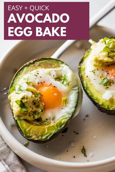 This easy Avocado Egg Bake (or Baked Eggs in Avocado) makes for a filling grab-and-go breakfast or to enjoy on the side for brunch. All you need are avocados, eggs, and your favorite toppings! This recipe is keto-friendly and low carb! #bakedavocadoeggs #lowcarb Healthy Cookie Recipes, Healthy Baking, Mexican Food Recipes, Healthy Eats, Healthy Life, Diet Recipes, Healthy Breakfast Dishes, Slow Cooker Breakfast, Breakfast Ideas