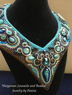 Bead Embroidery and Soutache Necklace.Unique by PanitaJewellery