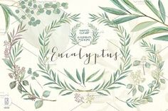 Eucalyptus wreath and leaves by GrafikBoutique on @creativemarket
