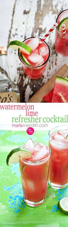 Watermelon Lime Refresher | Make this your signature summer #cocktail | MarlaMeridith.com ( @marlameridith )