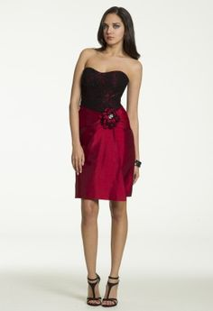 Short Lace and Shantung Dress with Side Flower from Camille La Vie and Group USA #homecoming #homecomingdresses