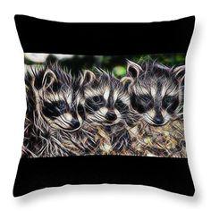 """Three Babies  Throw Pillow 14"""" x 14"""" by Sheila Lubeski"""