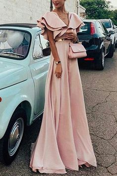 Sexy Pink Short Sleeves V Neck Maxi Dress – ebuytide Source by ebuytidecom dresses A Line Prom Dresses, Modest Dresses, Elegant Dresses, Pretty Dresses, Beautiful Dresses, Evening Dresses, Summer Dresses, Formal Dresses, Casual Dresses